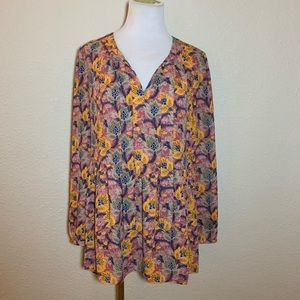 DR 2 Tunic Top High Low Blouse Large